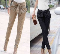 2014 spring Korean style fashion solid high waist women's Skinny Long Trousers OL casual Bow harem pants black & khaki