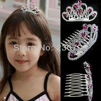 HOT SELLING Mini Princess Girls Wedding Party Crystal Headband Tiara Crown Hair Comb Pink, 1pc/lot Free Shipping