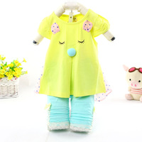 2014 fashion baby cotton summer suits QQ bear children character clothing set baby garment wholesale 6526