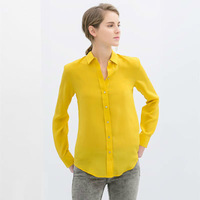 2014 New Women Casual Plus Size Chiffon Blouses Yellow Sky Blue Lady Spring Summer Long Seeve Shirt  Hot Clothing Drop Shipping
