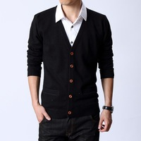 Cardigan sweater male solid color sweater basic slim men's clothing V-neck cardigan