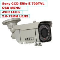 """DHLEMS Free Shipping:High Resolution CCTV Camera 700TVL 1/3"""" SONY Effio-E CCD Menu OSD Waterproof Outdoor Security 2.8-12MM Lens"""