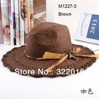 Wholesale 6pcs Mix Colors COOL Classic Unisex Wide Brimmed Floppy Hats Mens Straw Cap Women Sun Cap Large Brim Summer Beach Hat