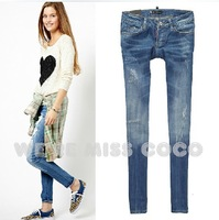 2014 New MISS COCO Hot Good Shape Bleached Ripped Low Waist 9-length Skinny Denim Pencil Jeans for Ladies Women