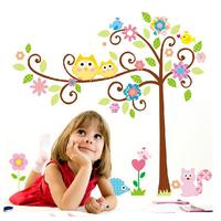 1set 110*120cm Transparent PVC Large Size Cute Owl Tree Sticker For Kids Room Decor & Cartoon Owl Wall Decal Kids Wall Sticker