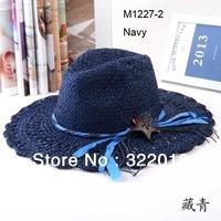 Wholesale 6pcs Mix Colors COOL Unisex  Wide Brimmed Sun Hats Women Straw Hats Ladies Floppy Beach Sun Caps Large Brim Summer Cap