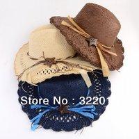 Wholesale 6pcs Mix Colors NEW Unisex  Wide Brimmed Floppy Sun Hats Men Straw Hats Women Beach Sun Caps Large Brim Summer Cap
