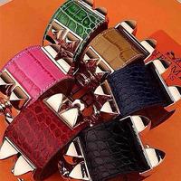 Classic genuine leather cowhide wide crocodile pattern Emboss big rivet leather bracelet silver plated bangle 18K bracelet