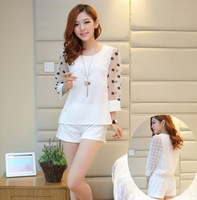 2014 Spring set Fashionable Casual shorts Lace decoration twinset PO-A21