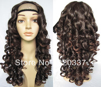 "New Arrival Women 3/4 Half Wigs Synthetic Wigs Hair 200g 22"" Curly Wig Hairpieces #2/33 Dark Brown Wig Hair for Women"