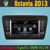 Car DVD Player GPS Navigation Radio for Skoda Octavia 2013  +3G WIFI + CPU 1GMHZ + DDR 512M + v-20 Disc + DVR + A8 Chipset