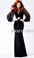 Black e3984 V-neck long-sleeve evening dress long dress fashion design evening dress fish tail formal dress