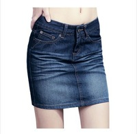 Saias Rushed Appliques Casual Shipping Women's Summer Short Solid Color Jeans Skirts Elastic Slim Above Knee Mini 2014 New