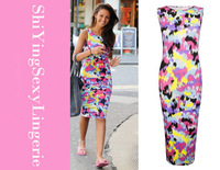 New 2014 Ladies Celebrity Inspired Tie Dye Splash Print Bodycon Midi Dress LC6232 summer casual vintage  woman clothes