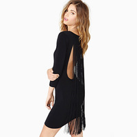 Back long tassel decoration elastic slim autumn and winter one-piece dress new casual dresses party sexy women 132515167