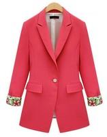 2014 Spring And Autumn New Fashion Brand Blazer Women Print Flowers Long-Sleeve Slim Plus Size Suit Jacket Coat Outerwear 6997