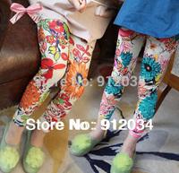 2015 spring new arrival kids leggings for girls blue & orange two colors flower leggings girls fashion pants 1 piece in retail