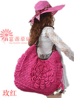 Free postage new Korean hand woven straw bag beach leisure tide Crochet Handbag Shoulder Bag petal flowers bag