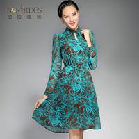 2014 plus size clothing faux silk print long-sleeve dress 8