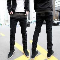 2014 Promotion Sale Pencil Pants Modern Mid Cotton Zipper Fly Men's Jeans Ripped Pencil Pants Skinny Patchwork Slim Fit Cb