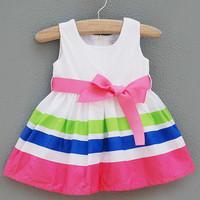 Female child children's clothing bow tank dress 3 - 3 baby girl summer one-piece dress