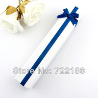 Hot Selling Wholesale Items White Paper With Blue Bowknot Graceful Long Concise Necklace Jewelry Box Gift Package