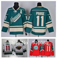 Free Shipping Minnesota Wild #11 Zach Parise Ice Hockey Jersey , Embroidery Logos Men's Hockey Jersey,Size 48-56