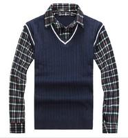 Hot!men sweaters long sleeve slim fit meN fake TWO piece sweater knit cardigan sweater black,white,gray
