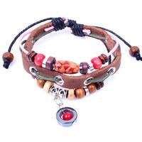 BA123 Wholesale Handmade Maple Charm Genuine Leather Adjustable Bracelet Wristband Jewelry Jewellery Unisex