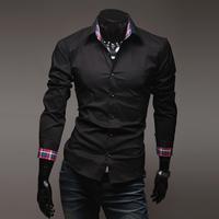 HOT! Fashion Men's Shirts Luxury Stylish Casual Slim Fit Dress Shirt Black, White, Light Blue Size L XL XXL Free Shipping