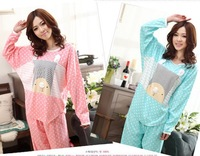 Free shipping new 2014 women's Sleepwear spring and autumn long-sleeve knitted cotton batwing sleeve Pajama Set women