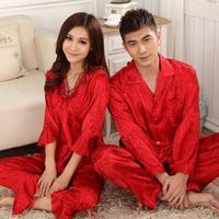 free shipping New 2015 Bride of men and women sleepwear robe married sleepwear red silk long-sleeve lovers silk Pajama Set women