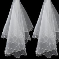 The bride wedding dress 1.5 meters wedding dress veil short bridal veil satin design edge veil