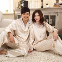 New 2015 noble elegant faux silk sleepwear women and men lovers long-sleeve spring and autumn Pajama Set women FREE SHIPPING