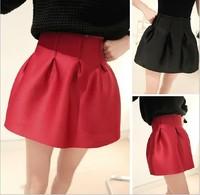 Spring New Hot Sale 2014 Fashion Design High Waist Ball Gown Princess Skirt Cotton Pleated Skirt Women Mini Skirt Mix Color