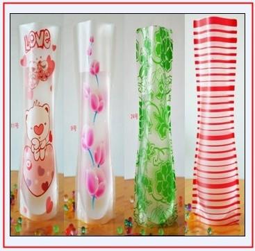 Fedex Free Shipping Large Size 27X18cm Fashion Foldable Plastic Vase / PVC Prints Flower Vase(China (Mainland))