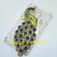 1 Pcs Handmade Bling Peacock Clear Hard back case For LG Optimus L7 II P710/P713