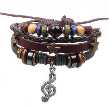 BA131 Music Charm Handmade Натуральная кожа Adjustable Bracelet Wristband Jewelry ...