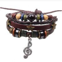BA131 Wholesale Music Charm Handmade Genuine Leather Adjustable Bracelet Wristband Jewelry Unisex