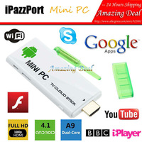 Free Shipping iPazzPort Google TV Stick Android 4.1 Mini PC Dual Core HDMI WIFI RK3066 1.6GHz Cortex A9 1G DDR3 4G W/ Free Gifts
