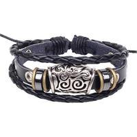BA130 Wholesale Handmade Genuine Leather Adjustable Bracelet Wristband Jewelry Unisex