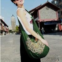 Women messenger bags one shoulder embroidered fluid bag peacock cross-body casual vintage bag