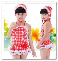 Hot sell baby girl swimwear cute lace red white checked summer swimsuits children 2 pc sets Siamese swimwear spa beachwear 7011