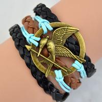 2014 New Fashion Infinity The Hunger Games charm bracelet brown bracelet best friendship gift