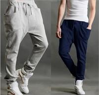 2014 Top Men's Skinny Active Mid Cotton Harem Pants Drop Crotch Hot Sale Baggy Pant Men Hip-hop Dance Sport Sweatpants Cb