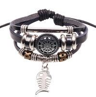 BA143 Wholesale Handmade Fish Charm Genuine Leather Adjustable Bracelet Wristband Jewelry Unisex Men Woman