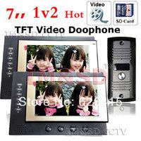 2PCS 7 inch TFT Monitor LCD Color Video Record Door Phone DoorBell Intercom System Photo shoot Recorder with IR camera