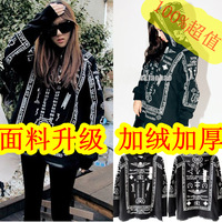 Harajuku ktz geometry loose bf thickening plus velvet patchwork hooded medium-long lovers sweatshirt