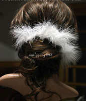 6Pcs Wedding Bridal Beautiful White Feathers Hair Pin Hair Accessory A-13