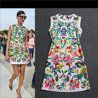 Free Shipping 2014 Newest Runway Positioning printed silk linen  dress 140225YY05